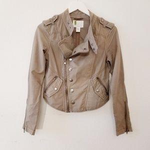 🌼 UO Moto Jacket Cropped Asymmetric Zipper
